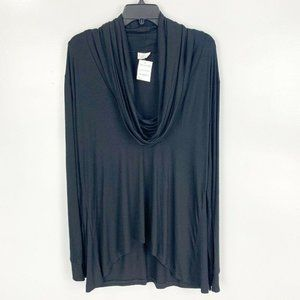 Go Couture Solid Cowl Neck High/Low Tunic Sweater